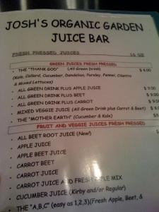 menu from the boarkwalk juice bar