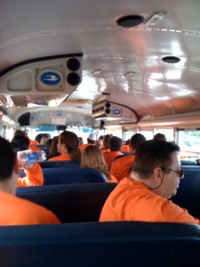 picture of volunteers on bus